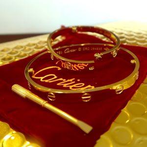 Jewelry - Love Bracelet Bangles Real 18k gp (17cm Small)